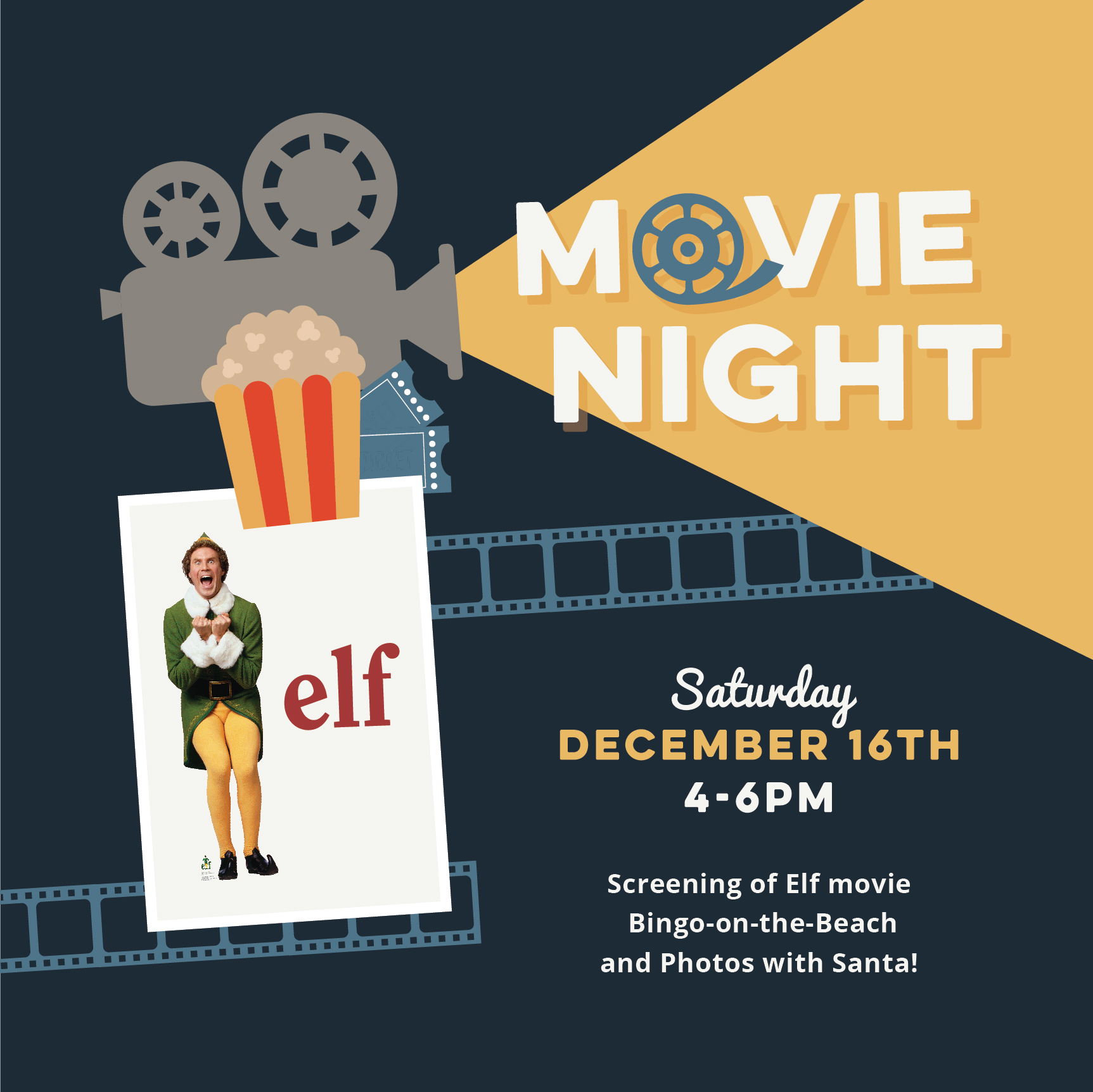 movie night christmas elf park poster holiday 16th 7pm sunwest festivities december join perfect